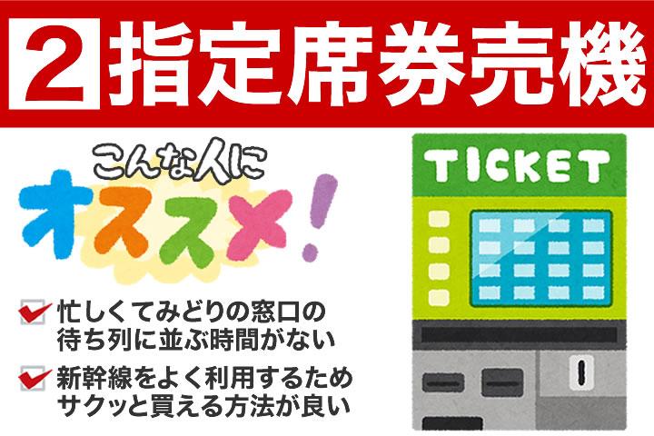 指定席券売機での新幹線回数券の買い方